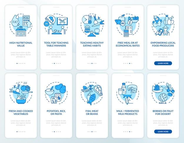Schoolmaaltijd onboarding mobiele app paginascherm met concepten