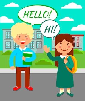 Schoolmakkers die hello flat vector illustration zeggen