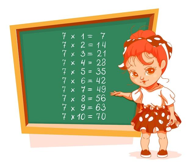 Schoolmeisje bij bord 7 vermenigvuldigingstabel vector cartoon