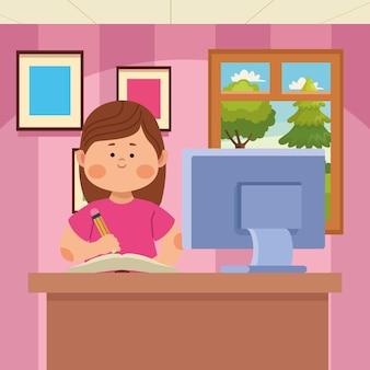 Schoolmeisje dat online in de klas schrijft