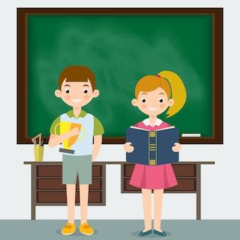 Schoolmeisje en schooljongen in een klaslokaal