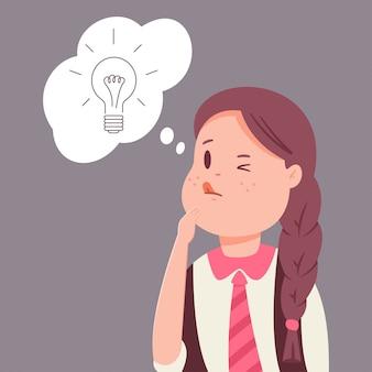 Schoolmeisje heeft een idee. vector stripfiguur van een schattig kind met een gloeilamp in tekstballon geïsoleerd