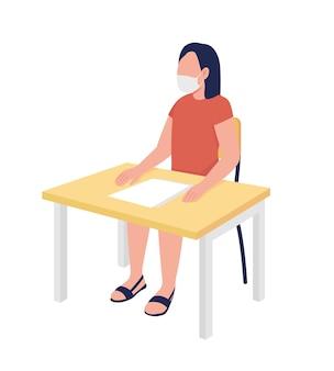 Schoolmeisje in masker bij les semi egale kleur vector teken meisje figuur