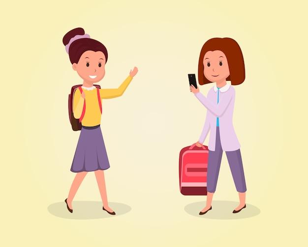 Schoolmeisje naar school vlakke afbeelding. klasgenoten, vriendinnen clipart