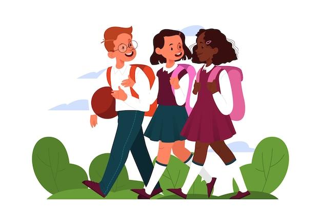 Schoolmeisje schema. kleine kinderen op school. gelukkige kinderen na de les. studenten die na school lopen.