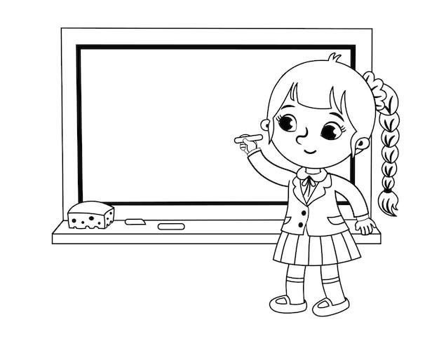 Schoolmeisje schrijven op het bord zwart-wit vectorillustratie