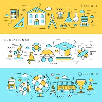 Schoolonderwijs banners set