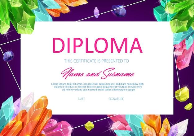 Schoolonderwijs diploma sjabloon met kristallen edelstenen