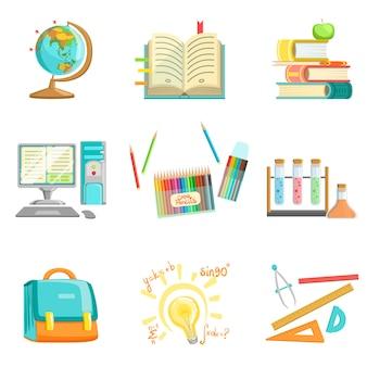 Schoolonderwijs en studies gerelateerde illustraties