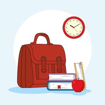 Schoolonderwijs koffer met boeken