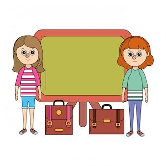 Schoolonderwijs meisjes cartoon