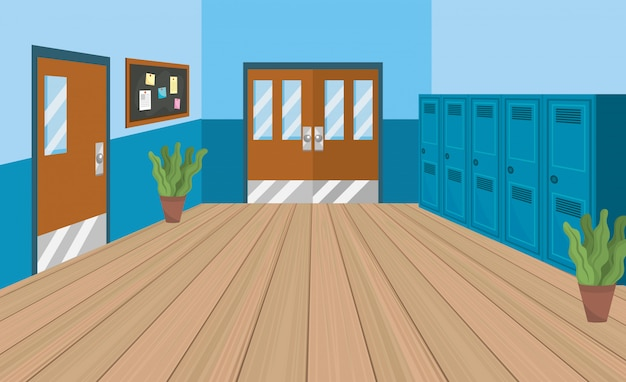 Schoolonderwijs met kluisjes en klaslokalen met een schoolbord