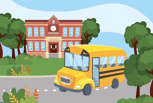 Schoolonderwijs met zijn busvervoer naar studenten
