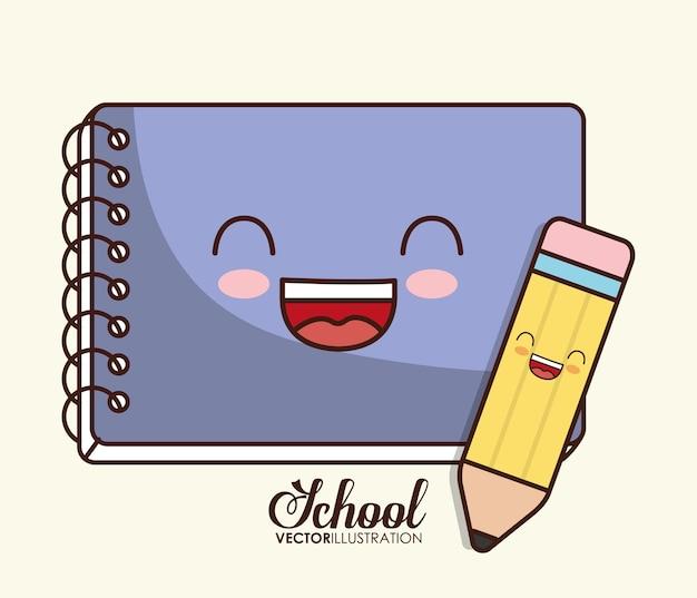 Schoolontwerp vertegenwoordigd door kawaii-notitieboekje en potloodpictogram