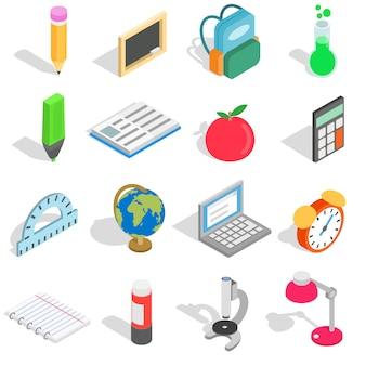 Schoolpictogrammen in isometrische die 3d stijl worden op witte achtergrond worden geïsoleerd geplaatst die