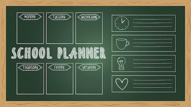 Schoolplanner aan boord. doodle takenlijst, krijttekening student week dagboek vector sjabloon. pagina blanco kalender, student schoolbord wekelijkse organisator illustratie