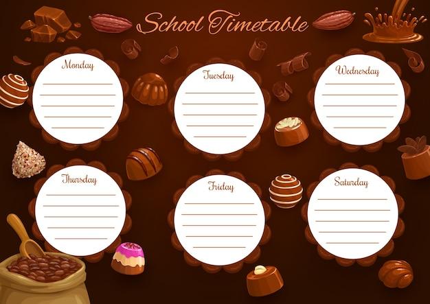Schoolrooster of schema, onderwijssjabloon met chocoladeachtergrond.