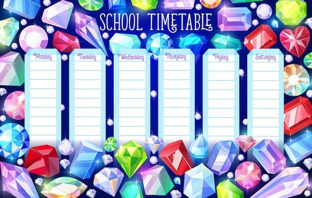 Schoolrooster schema met kristallen edelstenen