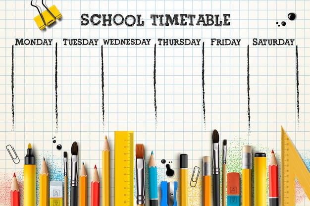 Schoolrooster sjabloon voor studenten of leerlingen.