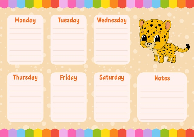 Schoolrooster. tijdschema voor schooljongens. gevlekte jaguar. lege sjabloon. wekelijkse schaafmachine met notities. stripfiguur.