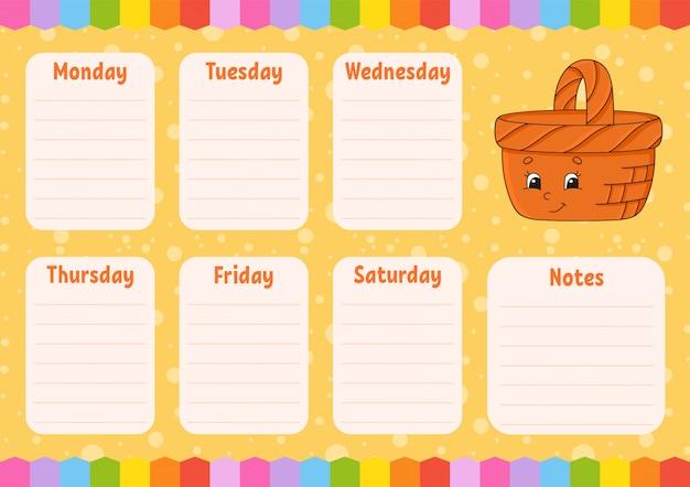 Schoolrooster. tijdschema voor schooljongens.