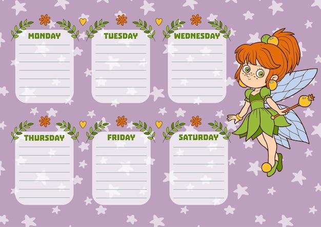 Schoolrooster voor kinderen met dagen van de week. kleur cartoon fee meisje