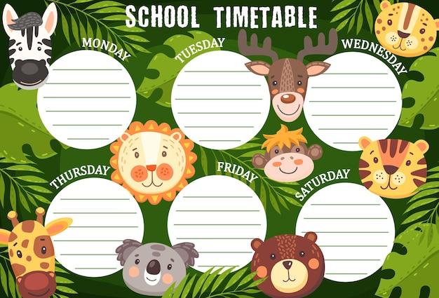 Schoolroosterschema met grappige dieren, weekplannersjabloon. cartoon tijdschema met kawaii grappige zebra, leeuw, giraf en beer met eland, aap en tijger of luipaard en koala in de jungle