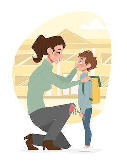 Schoolroutine van ouders en hun kinderen in vlakke stijl