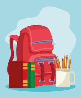 Schoolrugzak met boeken en mok met potloden