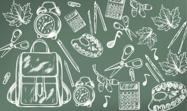Schoolspullen. terug naar school. krijt lijntekening