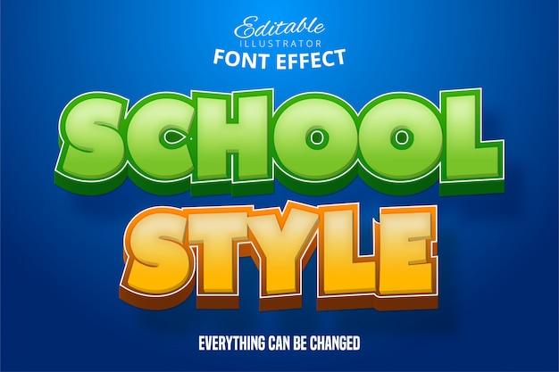 Schoolstijl tekst, 3d-bewerkbare lettertype-effect