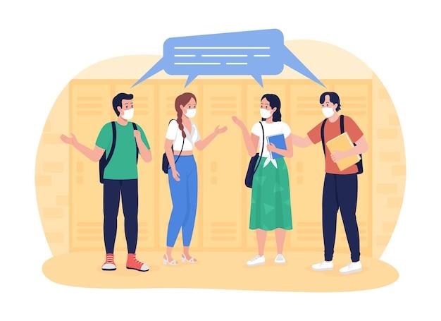Schoolstudenten in de gang 2d vector geïsoleerde illustratie. leerlingen chatten op school gang platte karakters op cartoon achtergrond. middelbare school vrienden. tieners in gezichtsmaskers kleurrijke scène