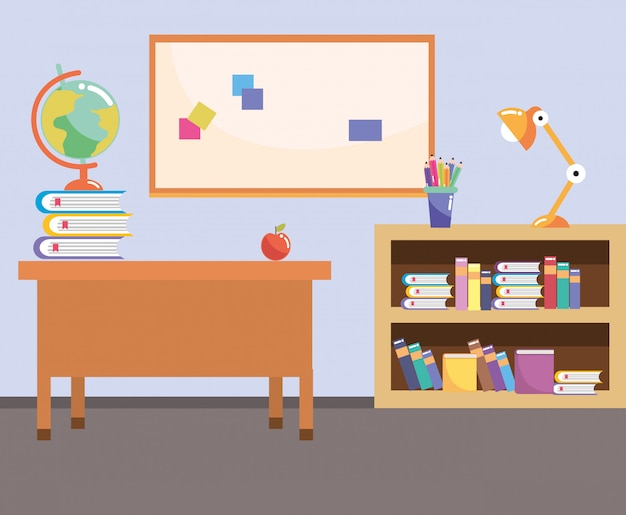 Schoolstudie klaslokaal cartoon