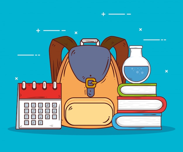 Schooltas met benodigdheden onderwijs