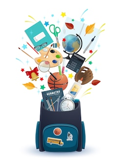 Schooltas met onderwijsbenodigdheden voor studenten van welkom terug op school. rugzak met boeken, rekenmachine en wereldbol, verf, penseel en kolven, schaar, lijm en wekker, lijm en bal