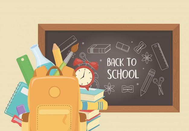 Schooltas met schoolbord en benodigdheden terug naar school