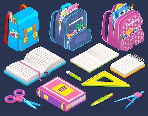 Schooltassen en briefpapier, schoolspullen geïsoleerd