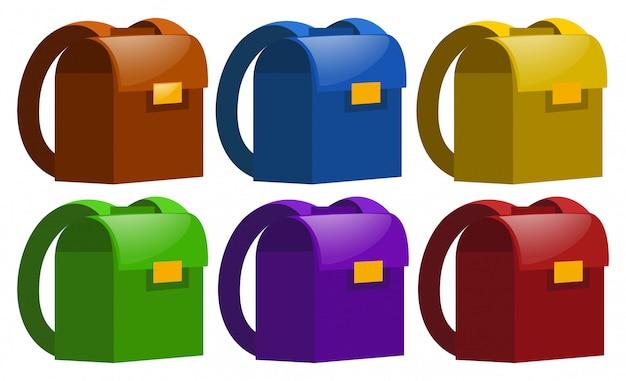 Schooltassen in zes kleuren