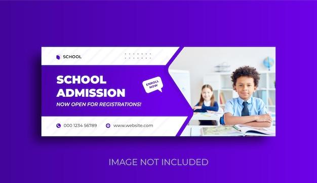 Schooltoelating facebook-omslag en webbanner social media postsjabloon