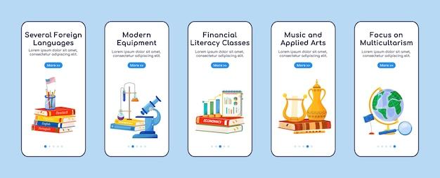 Schoolvakken aan boord van platte schermsjabloon voor mobiele app