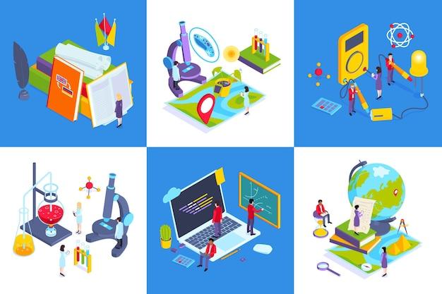 Schoolvakken hedendaags onderwijsconcept 6 isometrische composities met aardrijkskunde van de chemielab computerwetenschappen