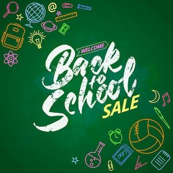 Schoolwelkom terug naar school belettering op krijtbord. gekleurde pictogrammen op het thema van het onderwijs. vector illustratie.