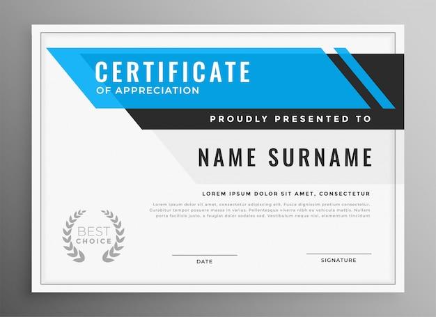 Schoon blauw certificaat van waardering sjabloonontwerp