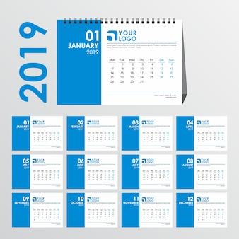 Schoon bureau kalendersjabloon