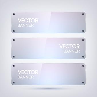 Schoon glazen frame, rechthoekige vorm, horizontale banners