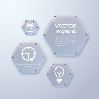 Schoon glazen frame, zeshoekige vorm, infographic zakelijke sjabloon Premium Vector