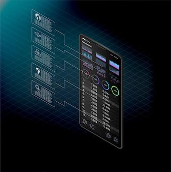 Schoon mobiel ui-ontwerpconcept. trendy mobiel bankieren. cryptocurrency-technologie. bitcoin exchange. financiële analyse. sjabloon voor handelsapplicaties.