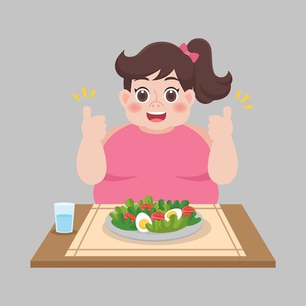 Schoon voedsel goede gezondheid, vrouw klaar om plantaardige salade te eten