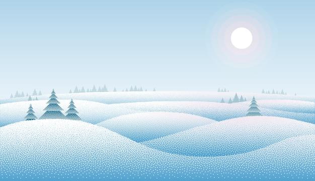 Schoon winterlandschap met sneeuwafzettingen en bomen