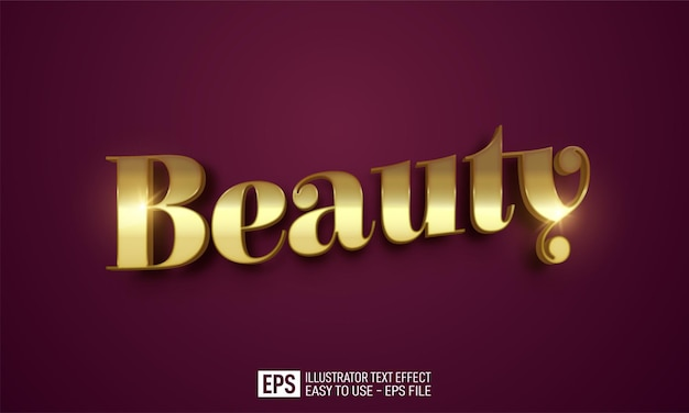 Schoonheid 3d-tekst bewerkbare stijleffectsjabloon